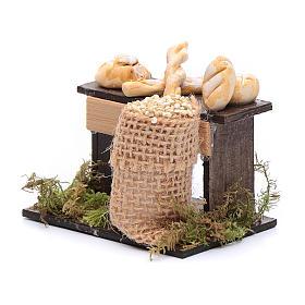 Banco di pane e sacco di legumi 5x5x5 cm presepe napoletano s2