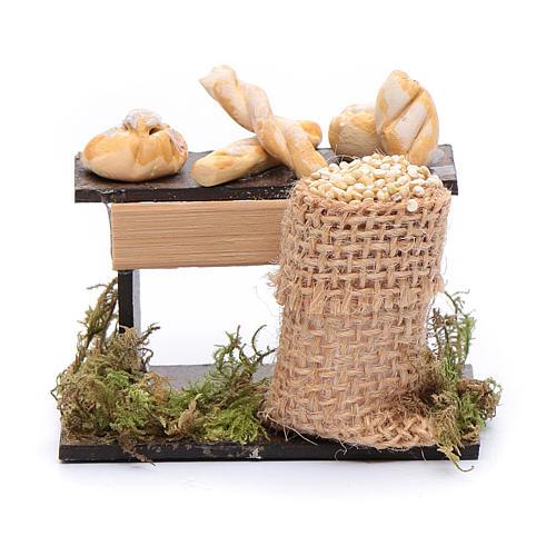 Banco di pane e sacco di legumi 5x5x5 cm presepe napoletano 1