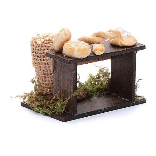 Banco di pane e sacco di legumi 5x5x5 cm presepe napoletano 3