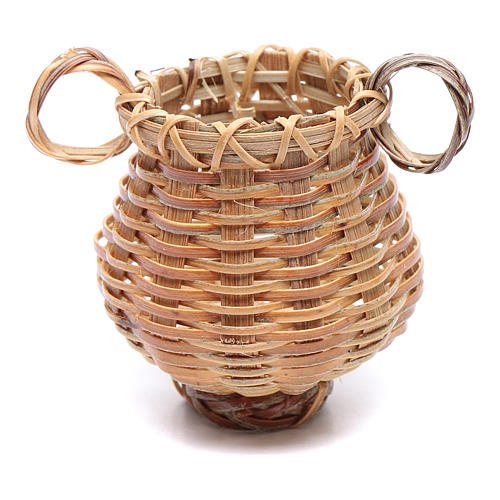 Wicker basket with jug shape for nativity scene 4x4 cm 2