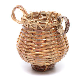 Acessórios de Casa para Presépio: Cesta de vime em forma de jarra para presépio 4x4 cm