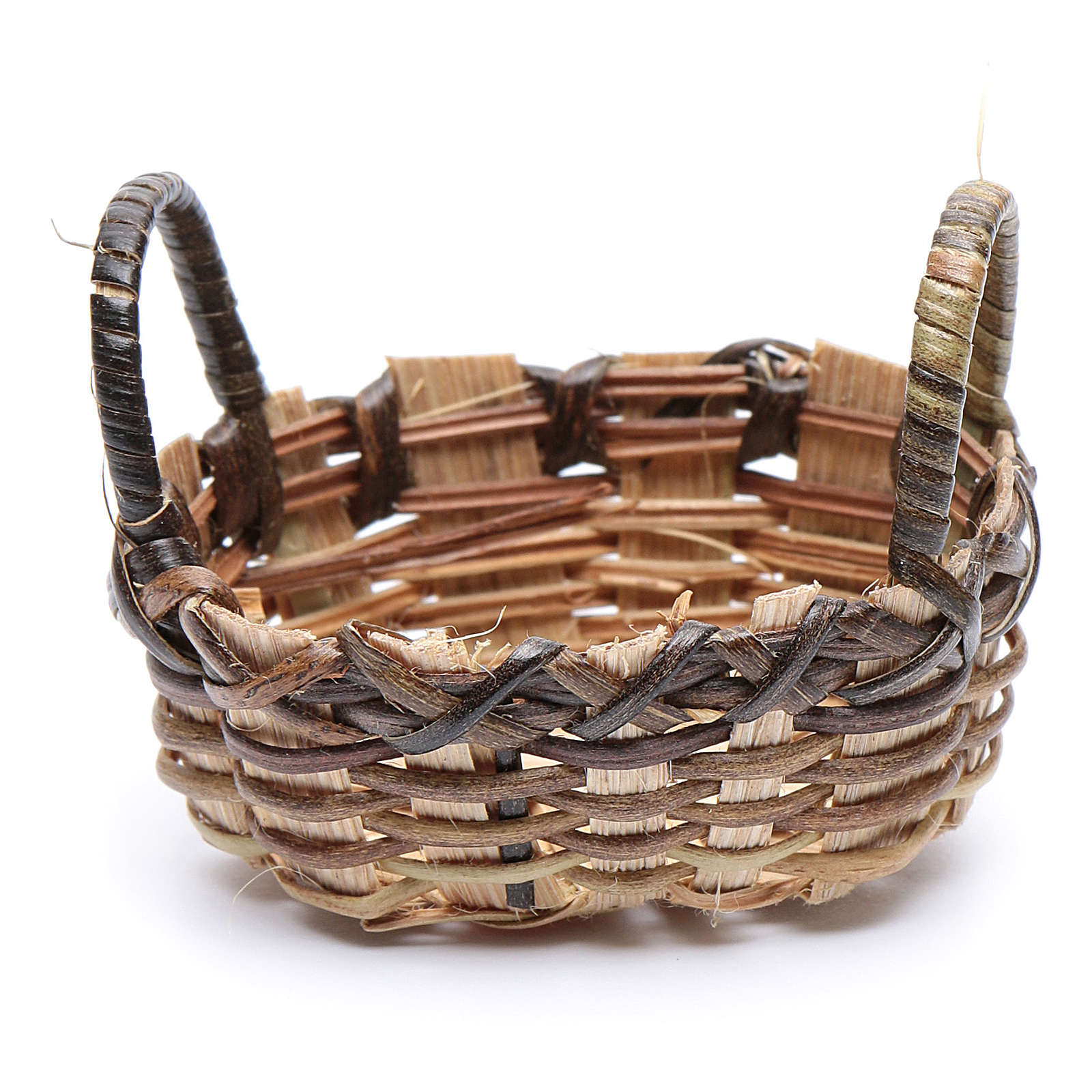 Wicker basket for clothes oval shape for DIY nativity scene  6x6 cm 4