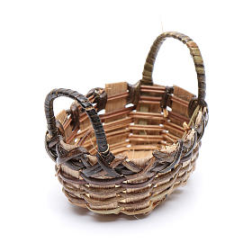 Wicker basket for clothes oval shape for DIY nativity scene  6x6 cm s1