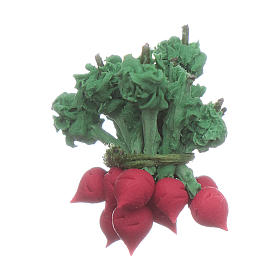 Comida en miniatura: Rábano rojo 2x2 cm belén hecho con bricolaje