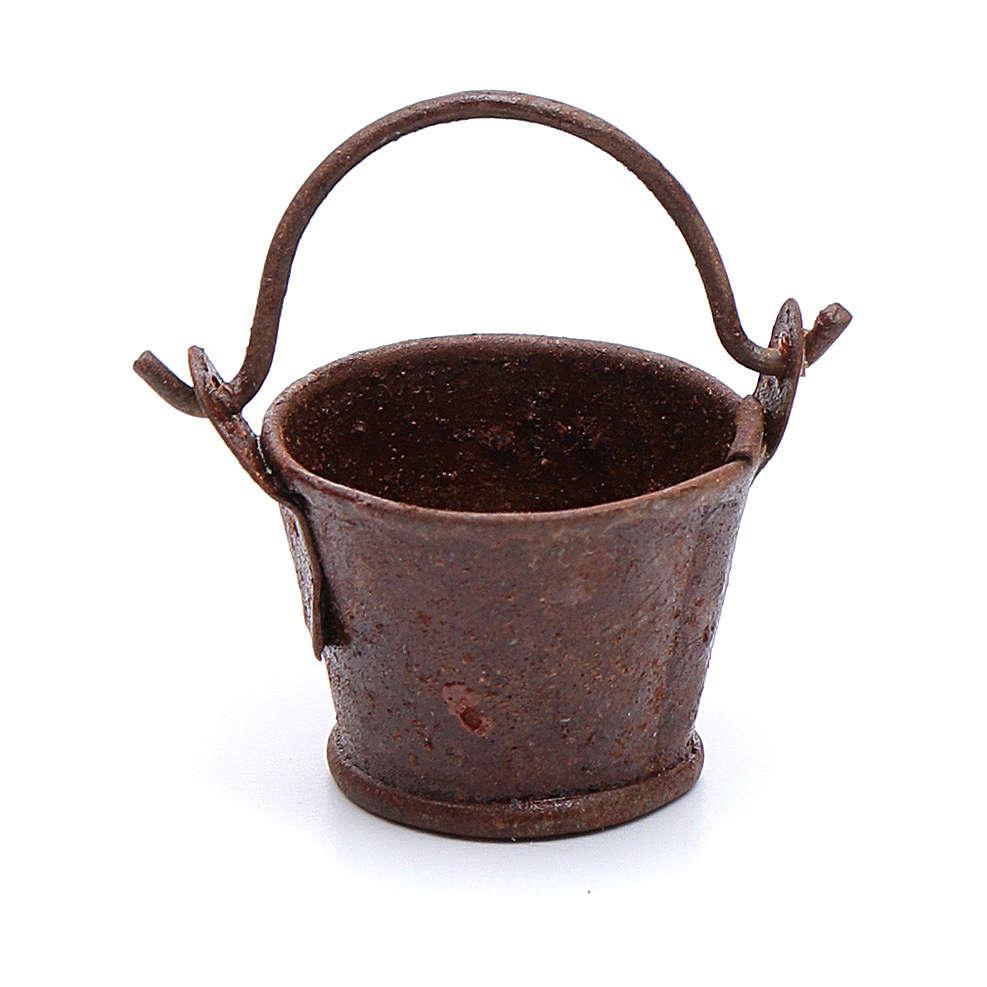 Eimer aus Metall Rost-Look 1,8x2 cm Zubehör für DIY-Krippe 4