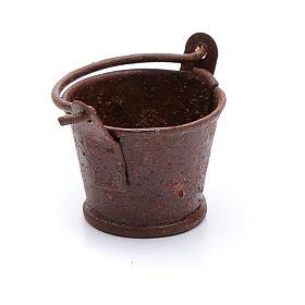 Eimer aus Metall Rost-Look 1,8x2 cm Zubehör für DIY-Krippe s2
