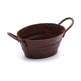 Home accessories miniatures: Nativity scene metal rusted tub 3,5x5,5 cm