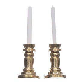 Acessórios de Casa para Presépio: Conjunto 2 castiçais presépio altura real 3,5 cm