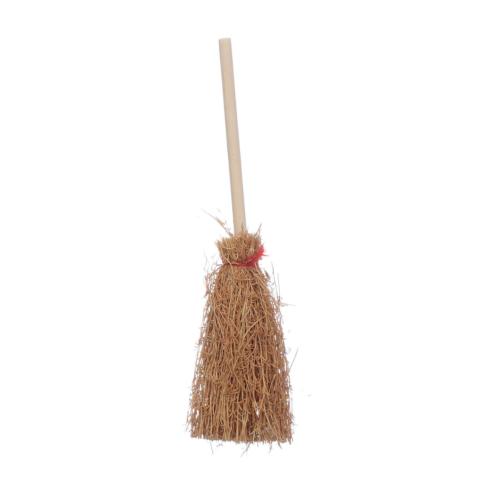 Straw Broom Nativity real h 10 cm 4