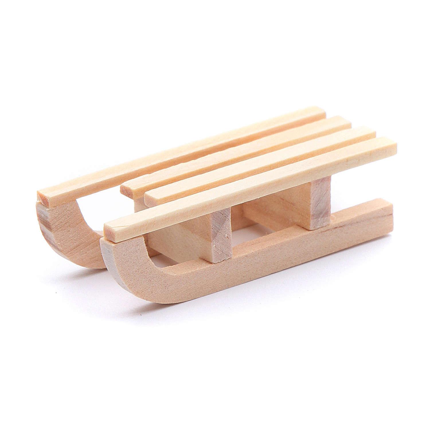 Trenó madeira 1,5x5x2 cm para presépio 4