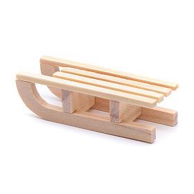 Trenó madeira 1,5x5x2 cm para presépio s3