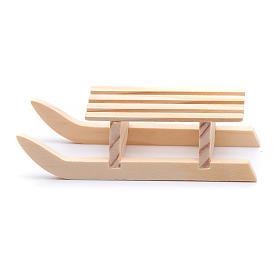 Traineau 3x10x4,5 cm bois pour crèche s1