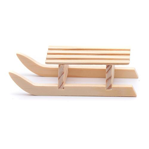 Traineau 3x10x4,5 cm bois pour crèche 1