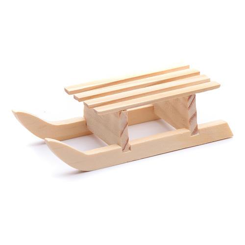 Traineau 3x10x4,5 cm bois pour crèche 2