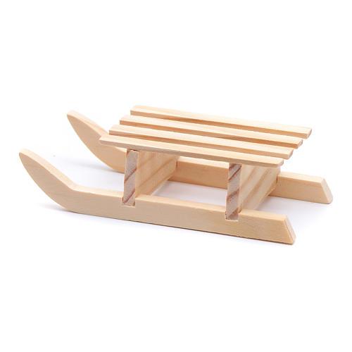 Traineau 3x10x4,5 cm bois pour crèche 3