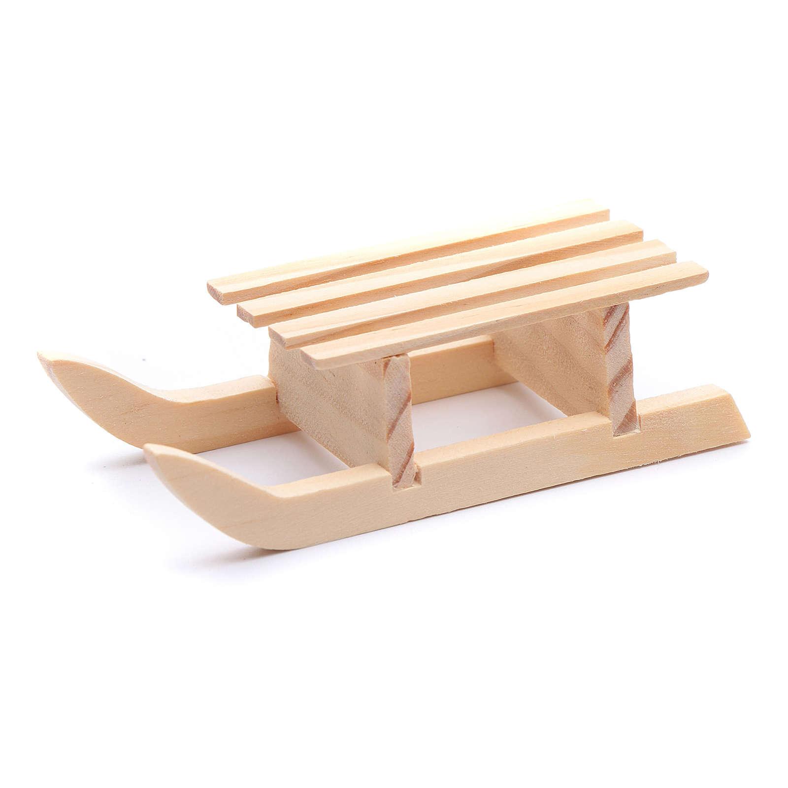 Slitta 3x10x4,5 cm legno per presepe 4