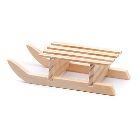 Slitta 3x10x4,5 cm legno per presepe s3