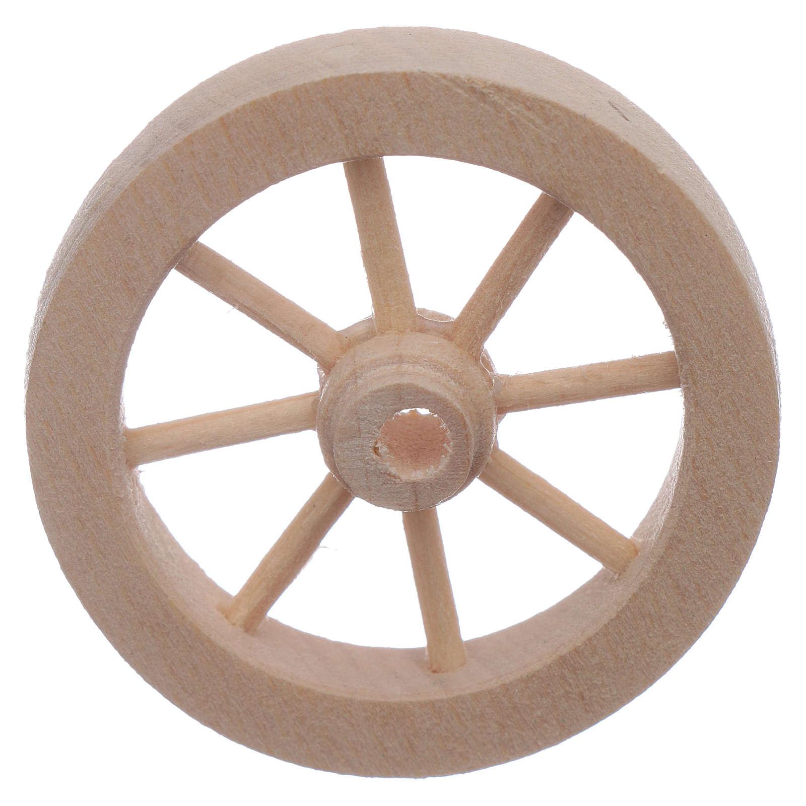 Roue charrette en bois crèche diamètre 4 cm 4