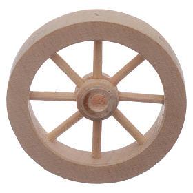 Roue charrette en bois crèche diamètre 4 cm s2