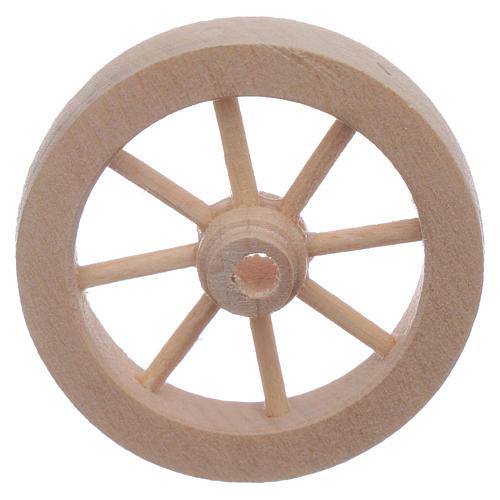 Roue charrette en bois crèche diamètre 4 cm 1