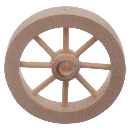 Roue charrette en bois crèche diamètre 4 cm 2