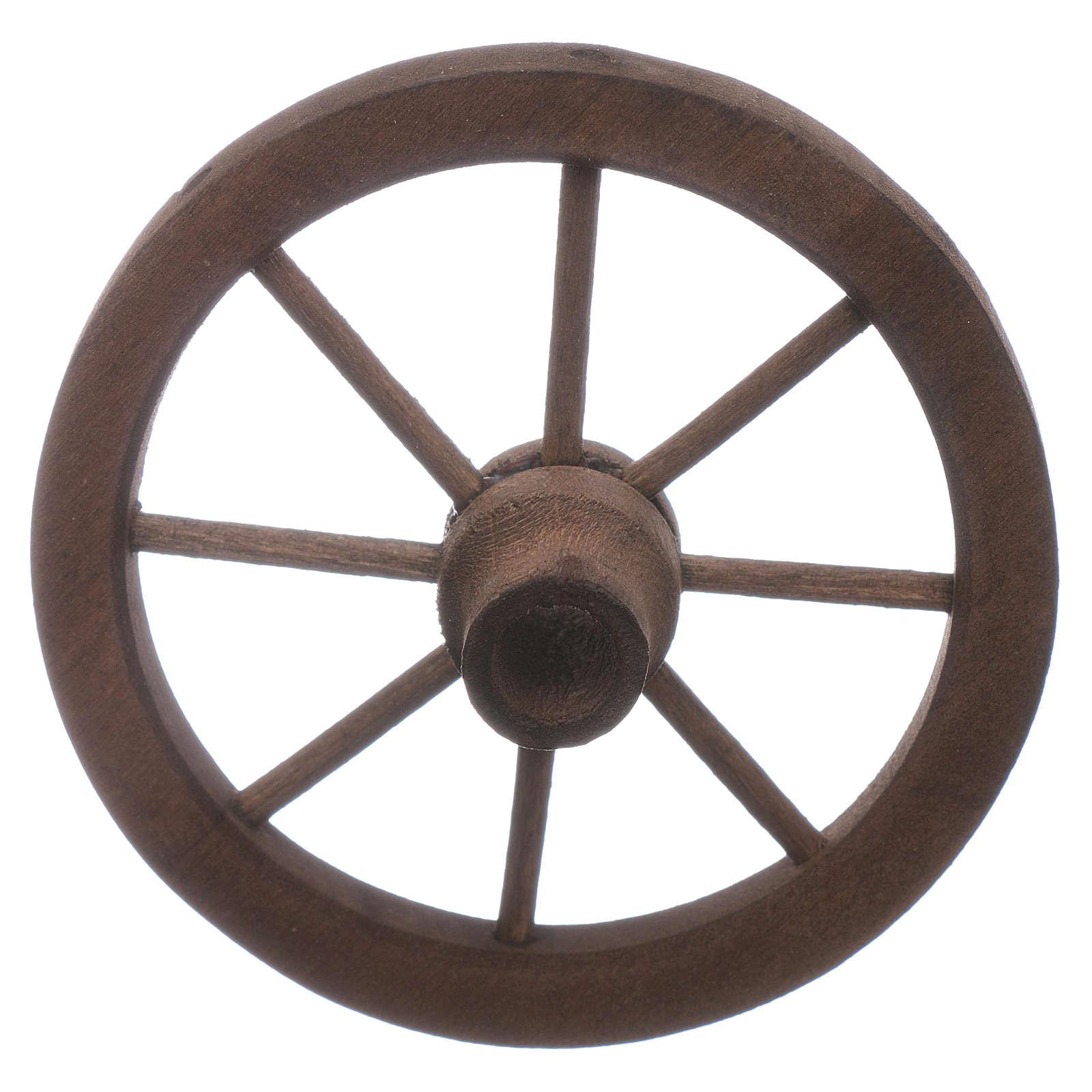 Ruota carro presepe diametro 7 cm legno 4