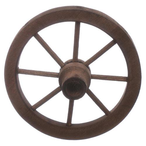 Ruota carro presepe diametro 7 cm legno 1