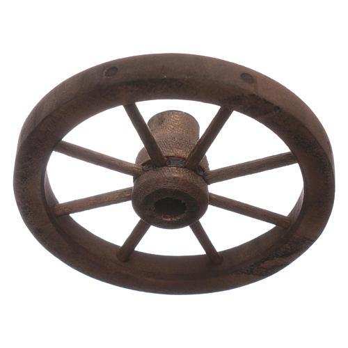 Ruota carro presepe diametro 7 cm legno 2