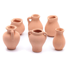 Home accessories miniatures: Urn in terracotta 6 pieces for Nativity Scene real height 3-4 cm
