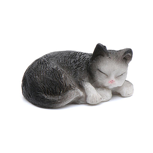 Gatto dormiente assortito 3,5 cm altezza reale presepe 1