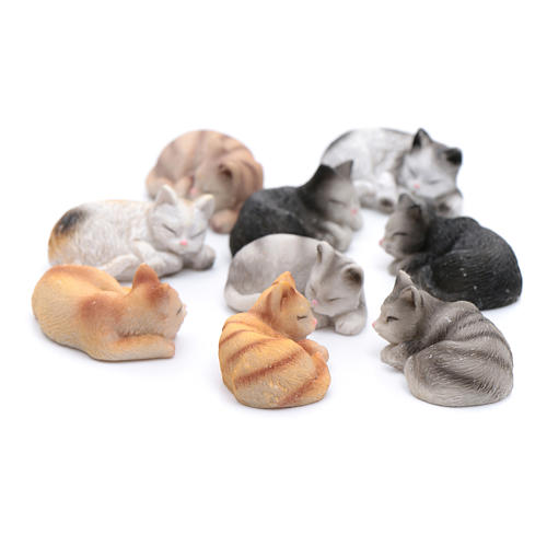 Gatto dormiente assortito 3,5 cm altezza reale presepe 2
