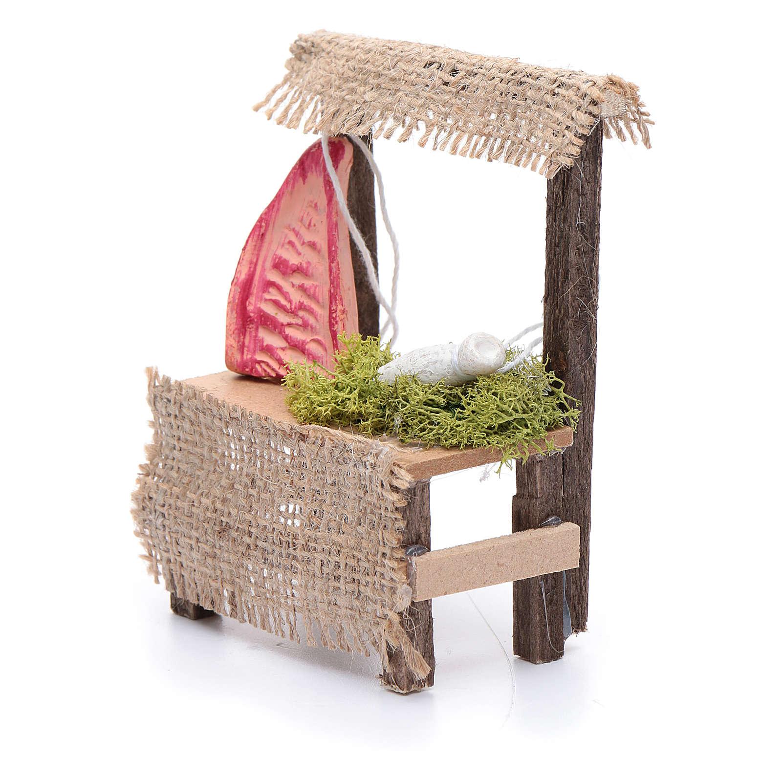 Banchetto in legno 10x5x5 cm carne accessorio presepe 4