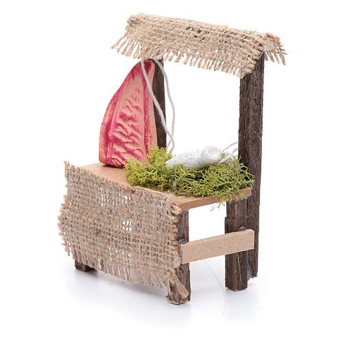 Banchetto in legno 10x5x5 cm carne accessorio presepe 2