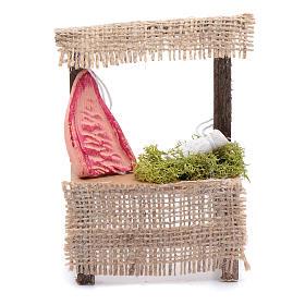 Comida em Miniatura para Presépio: Banca de madeira 10x5x5 cm carne acessório presépio
