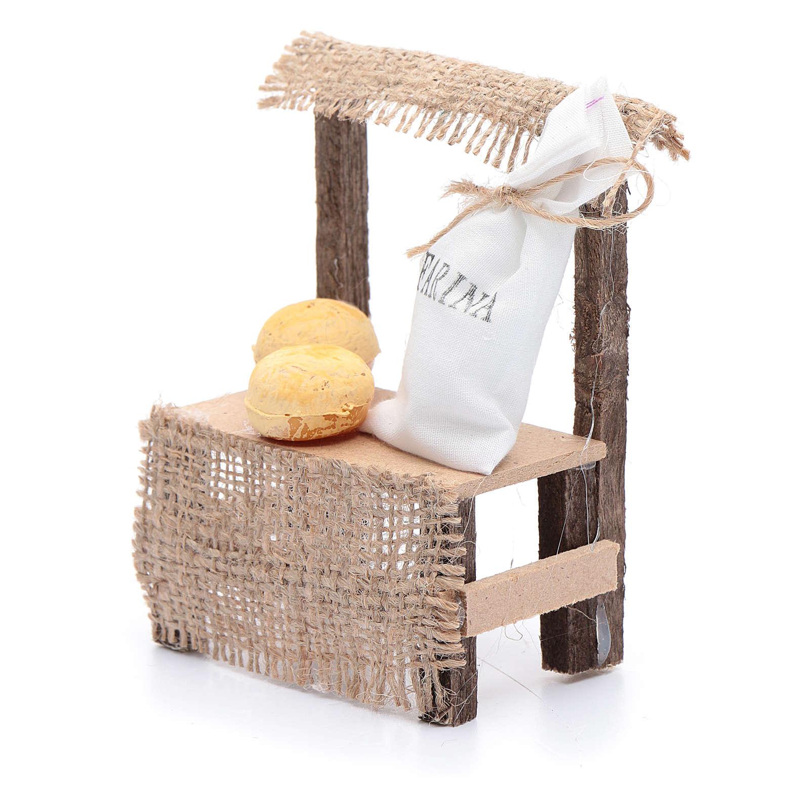 Banchetto in legno sacco di farina 10x5x5 cm accessori presepe 4