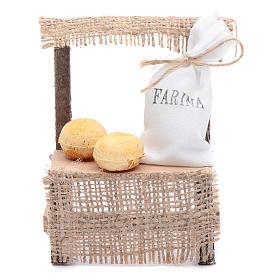 Comida em Miniatura para Presépio: Banca de madeira saco de farinha 10x5x5 cm acessório presépio