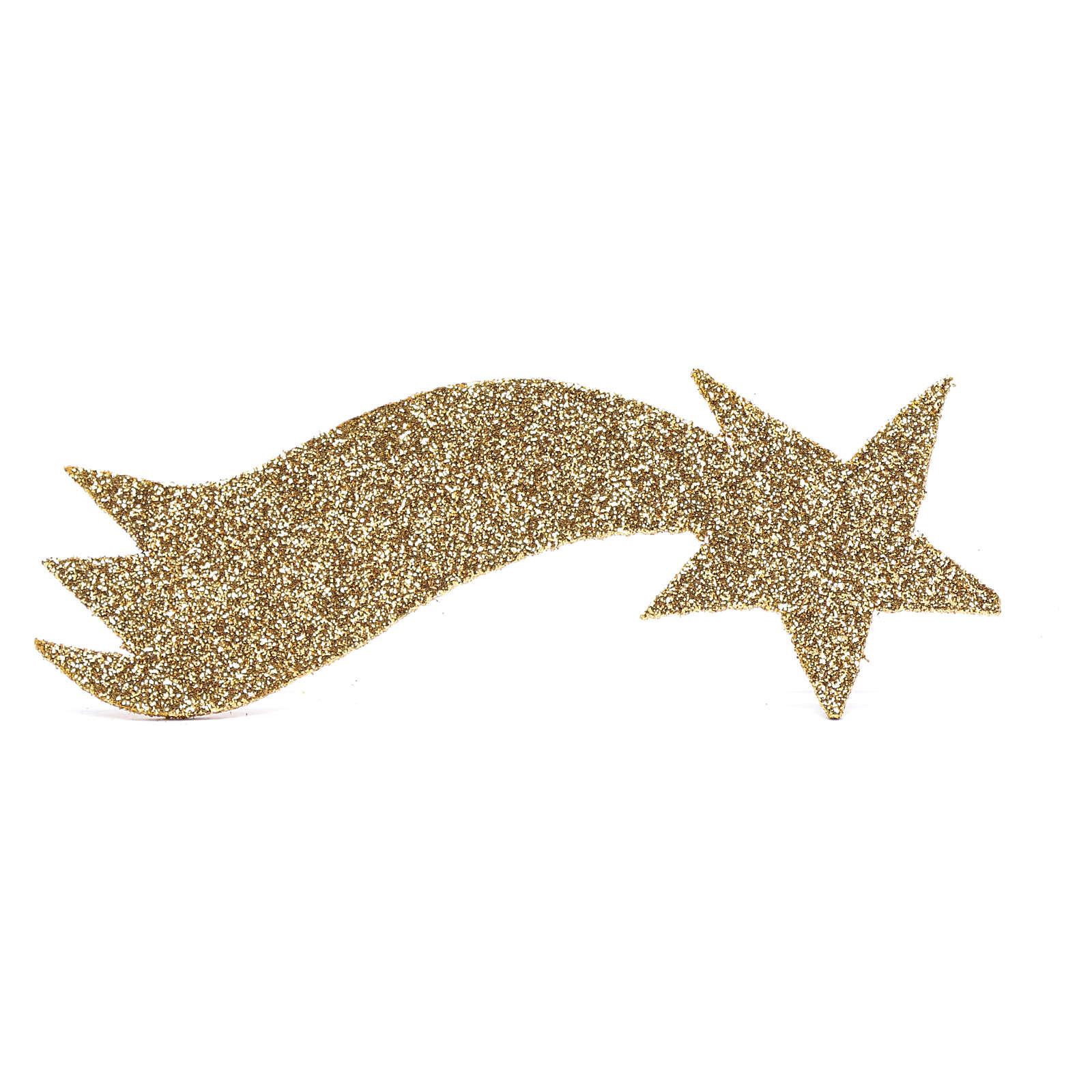 Nativity scene star comet in gold and glitter 5x20 cm 4