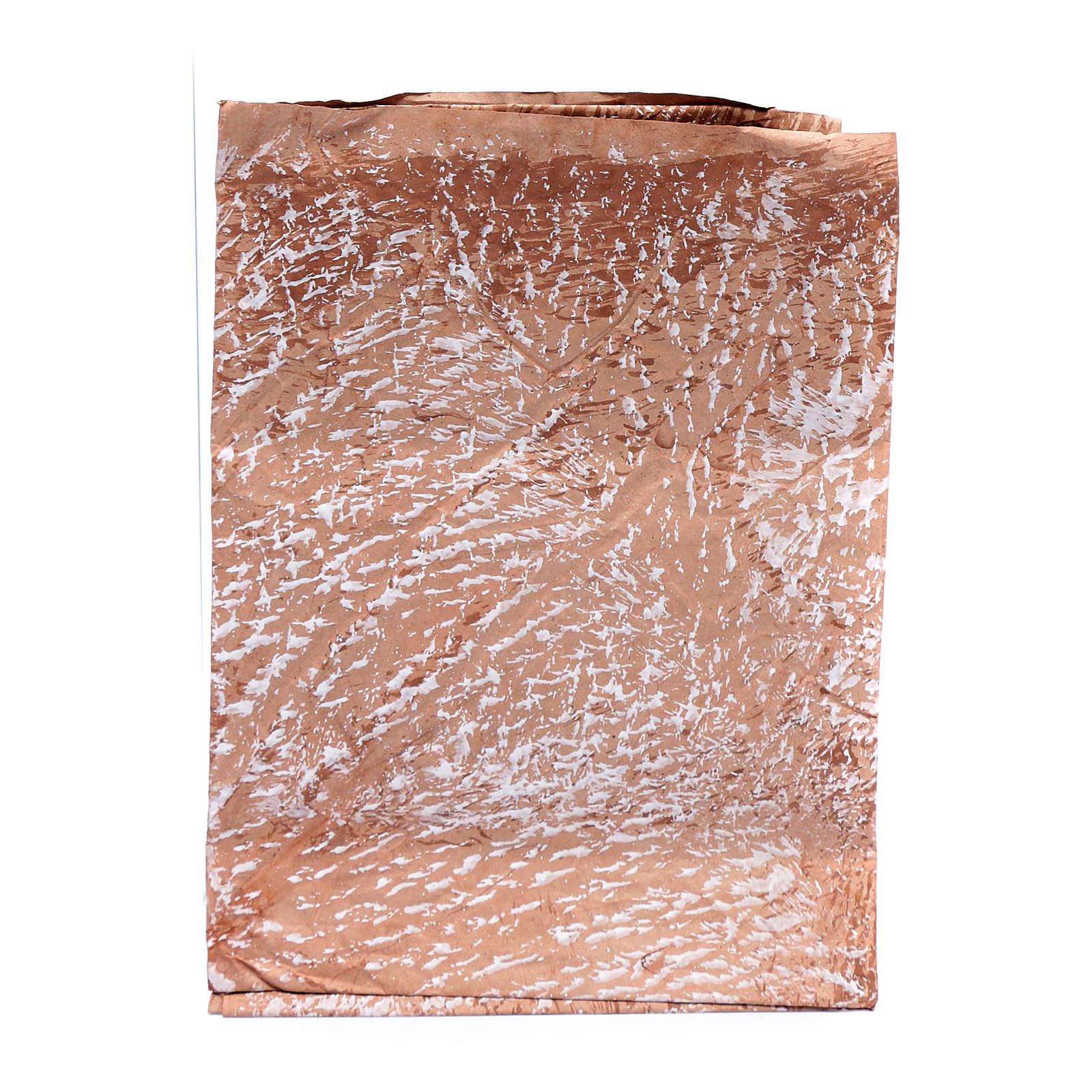 Carta roccia dipinta a mano marrone 70x100 cm presepe fai da te 4