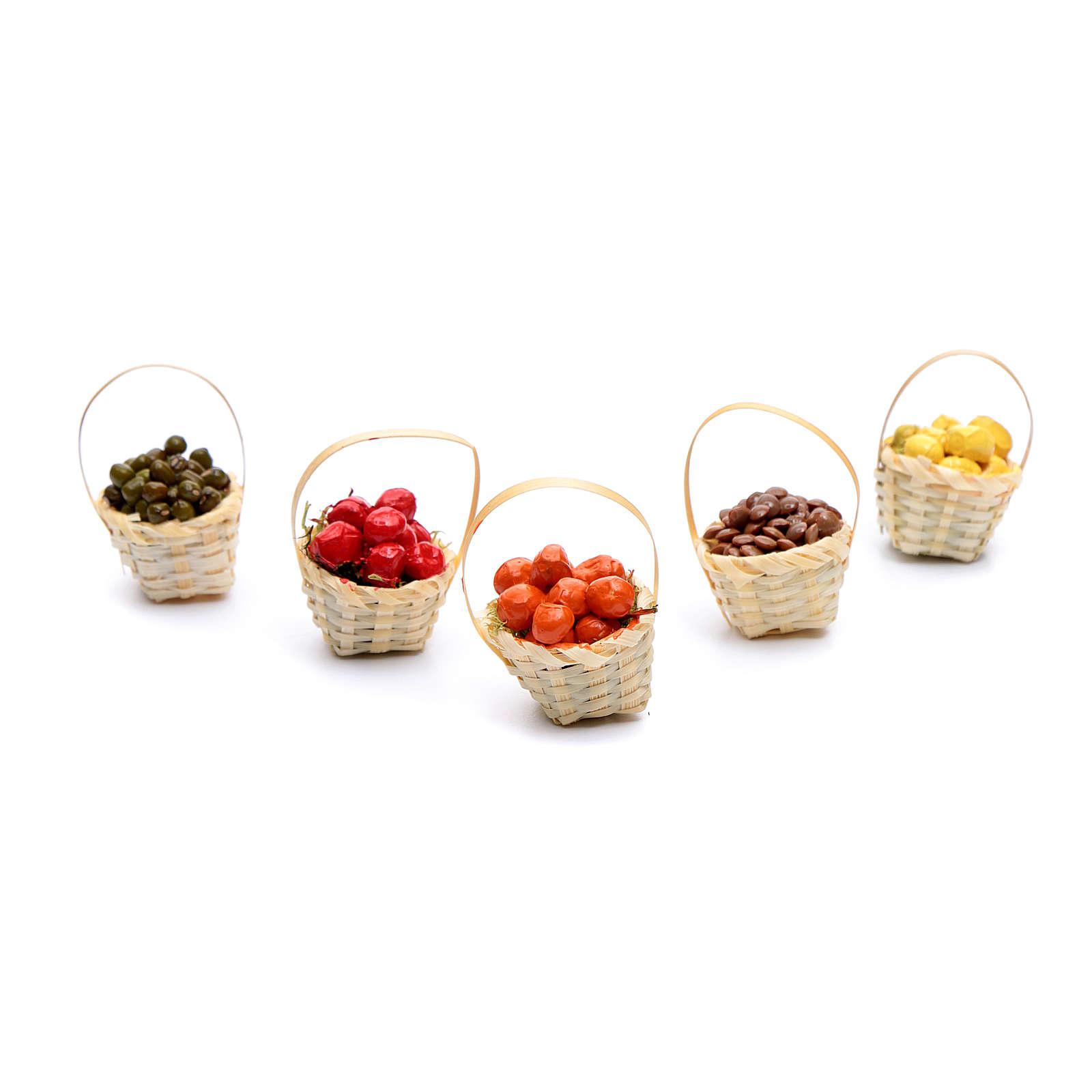 Cesto frutta assortita h 5 cm per presepe fai da te 4