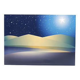 Fonds pour crèche Noel: Toile de fond étoiles illuminées leds 50x70 cm