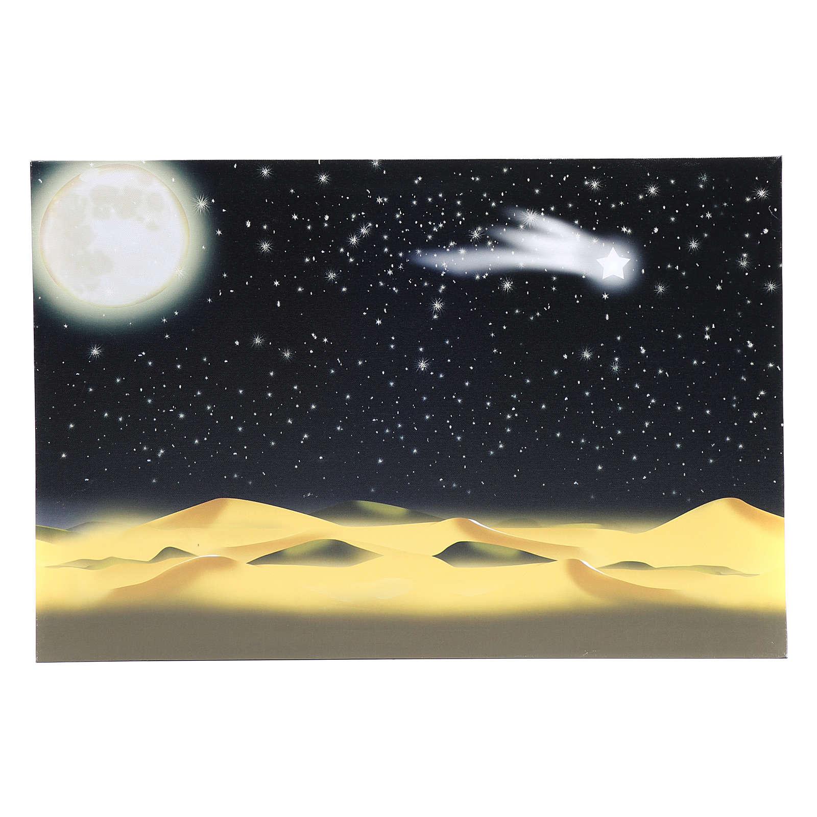 Toile de fond lune et ciel étoilé illuminé leds 40x60 cm 4