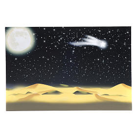 Toile de fond lune et ciel étoilé illuminé leds 40x60 cm s1