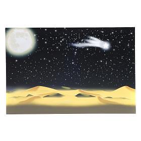 Sfondi presepe, paesaggi e pannelli: Fondale  luna e cielo stellato illuminato led 40x60 cm