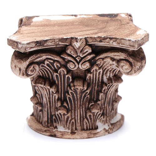 Corinthian semi capital in resin for nativity scene 5x5 cm 1