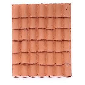 Toit avec tuiles résine couleur terre cuite 13x10 cm bricolage de crèche s1