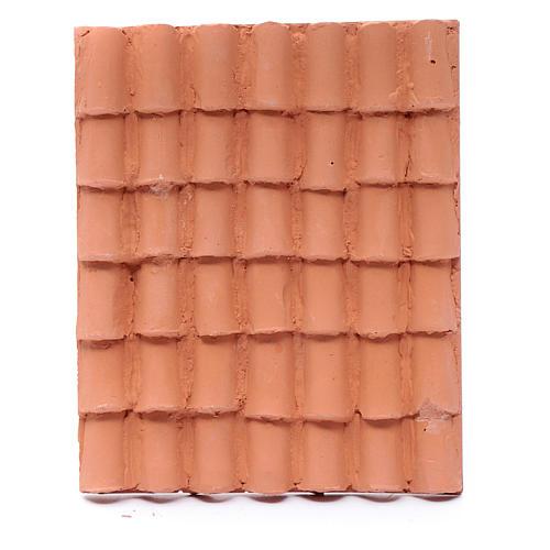 Toit avec tuiles résine couleur terre cuite 13x10 cm bricolage de crèche 1
