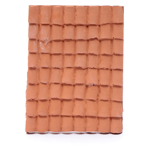 nativity scene resin roof with terracotta decorated shingles 10x5 cm 1
