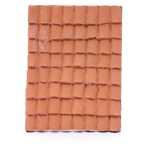 Techo con tejas 10x5 cm resina color terracota belén 1