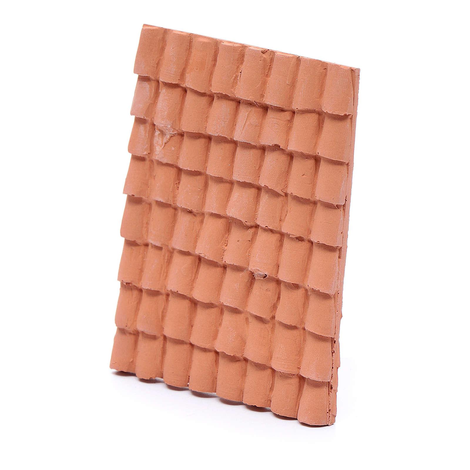 Tetto con coppi 10x5 cm resina color terracotta presepe 4