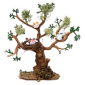 Mousse végétale, Lichens, Arbres, Pavages: Arbre avec oiseaux h réelle 16 cm pour crèche